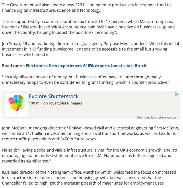 Nottingham Post article